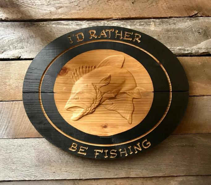 I'd Rather Be Fishing Bass Sign